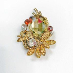 Gold Vintage Yellow Stone Brooche